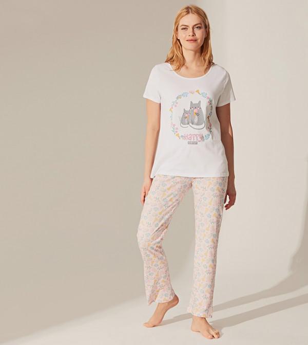Short Sleeve Standard Long Thin Single Jersey Pyjamas Set -Pink