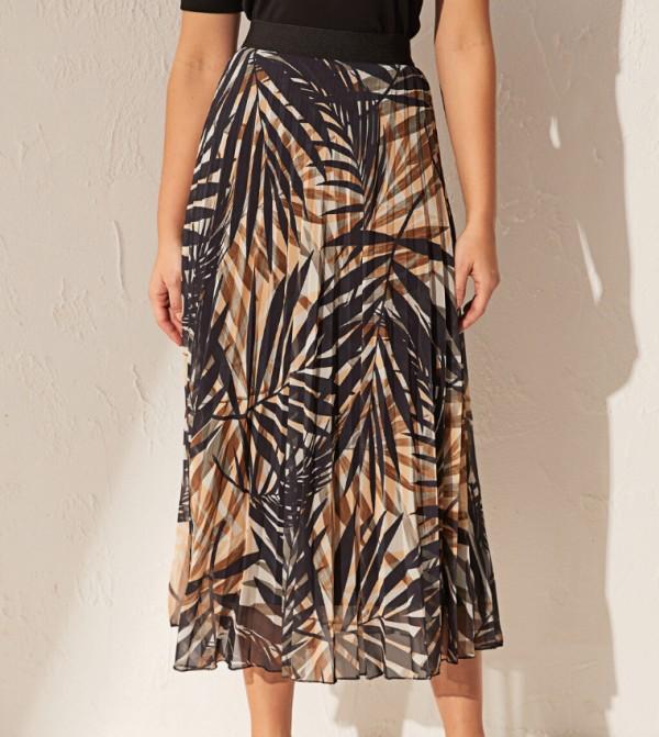 تنورة طويلة منسوجة - مطبوعة باللون الأسود