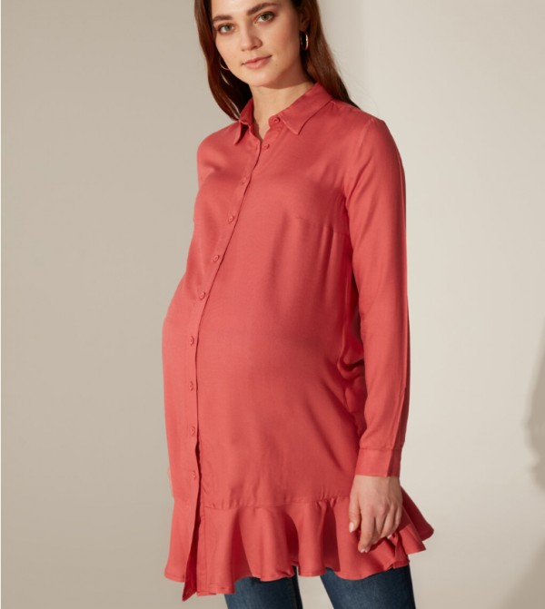 Woven Tunic Long Sleeves - Dusty Rose