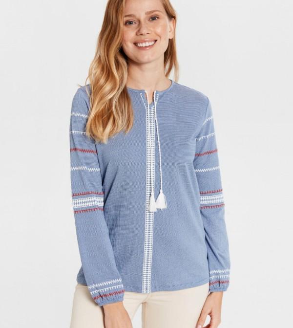 Jersey Body Tshirt Long Sleeves - Light Blue Strip