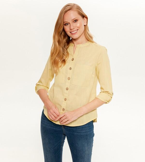 Plain Long Sleeve Standard Thin Shirt Dress Shirt -Yellow
