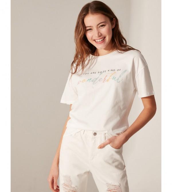 Letter Printed Cotton T-Shirt-Ecru