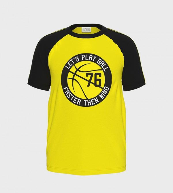 Printed Crew Neck Short Sleeve Standard Thin Single Jersey T-Shirt -Yellow