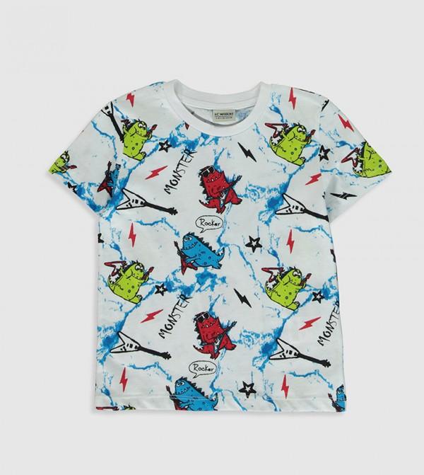 Printed Crew Neck Short Sleeve Standard Thin Single Jersey T-Shirt -White