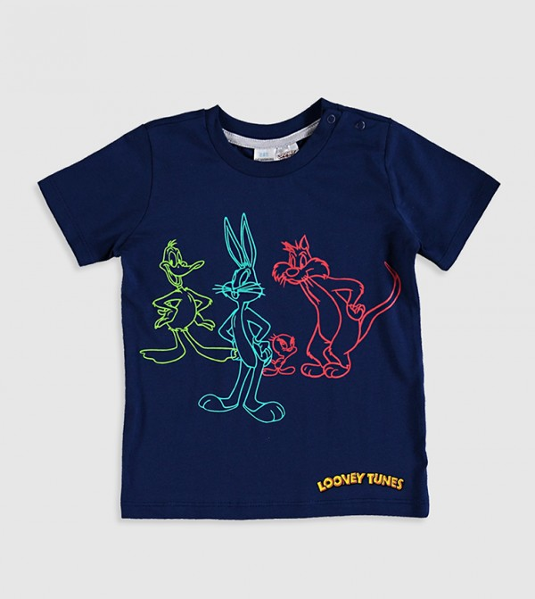 Looney Tunes Printed T-Shirt-Blue