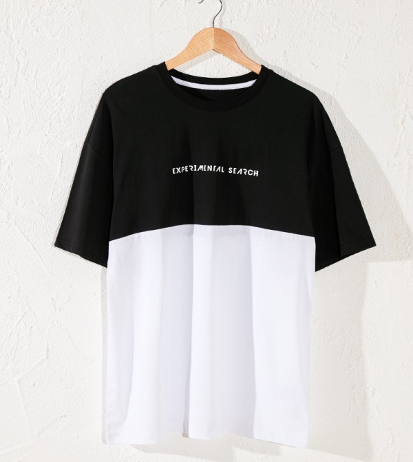 Male Printed Crew Neck Short Sleeve Loose Fit Thin Single Jersey T-Shirt-Black