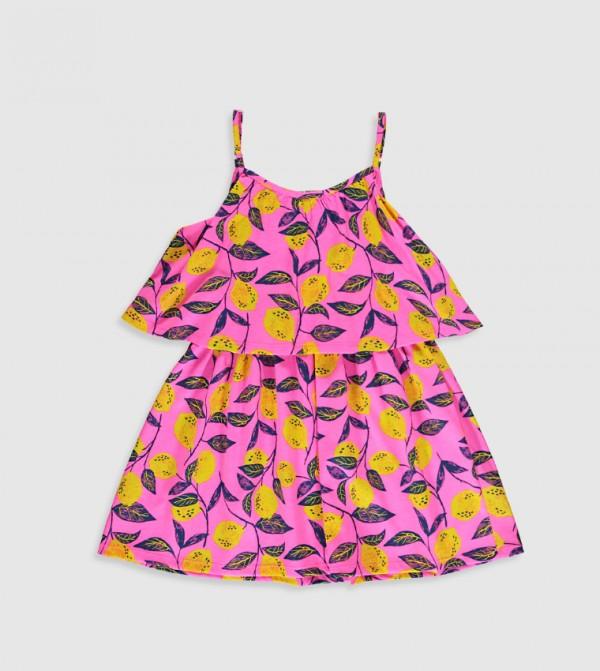 Printed Crew Neck Sleeveless Above Knee Thin Cloche Dress-Pink