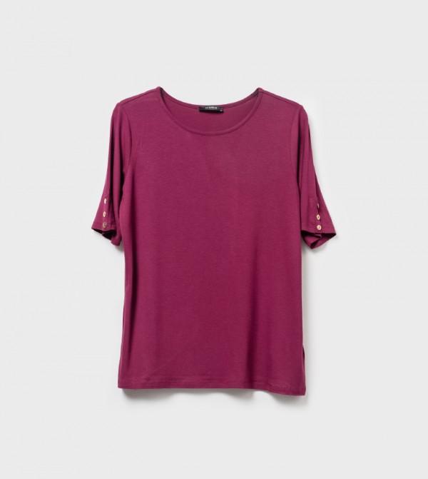Plain Crew Neck Short Sleeve Standard Thin Single Jersey T-Shirt-Plum
