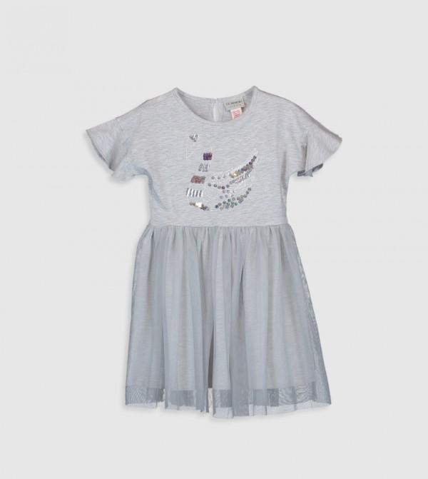 Printed Crew Neck Short Sleeve Above Knee Thin A Form Single Jersey Dress-Ecru