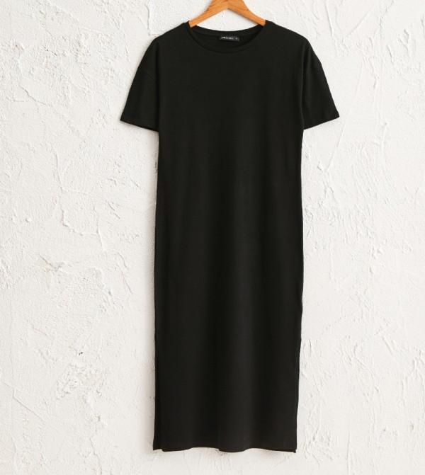 Plain Crew Neck Short Sleeve Slim Mid Length Thin T-Shirt Dress Single Jersey Dress-Black