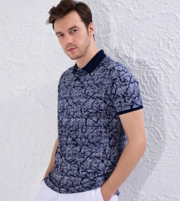 Printed Polo Neck Short Sleeve Thin Pique T-Shirt-Navy