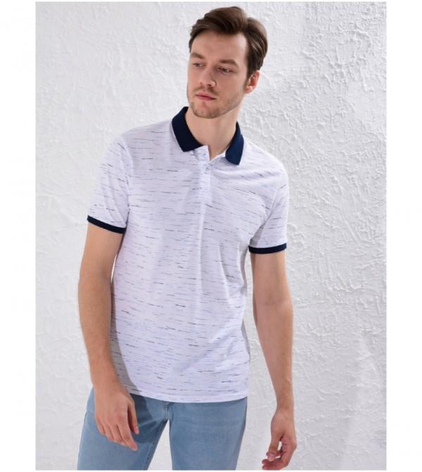 Printed Polo Neck Short Sleeve Thin Pique T-Shirt-Blue