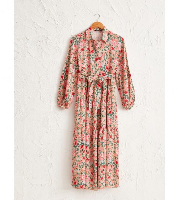 Shirt Collar Long Sleeve Thin Maxi Dress-Pink