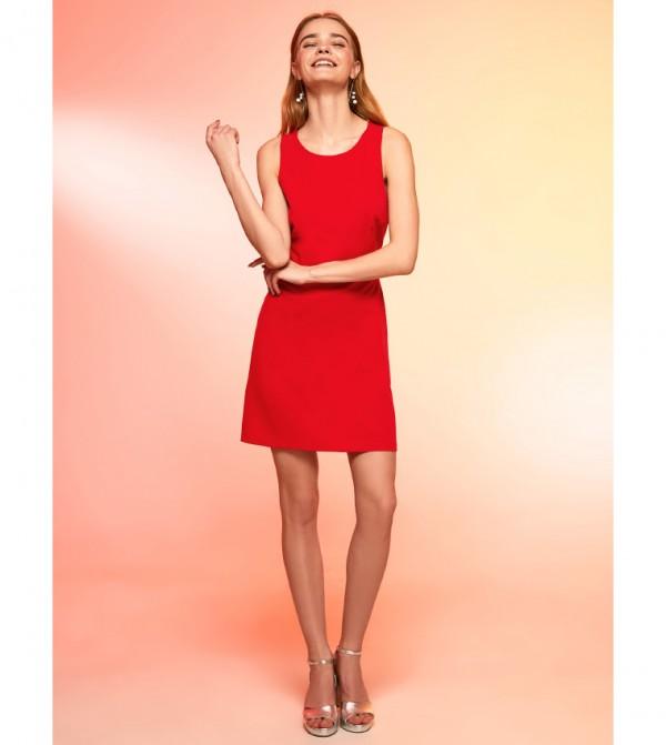 Plain Crew Neck Sleeveless Slim Short Thin Fit&Flare Dress-Red