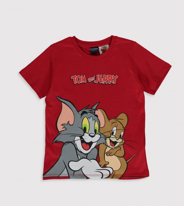 Tom&Jerry Printed Crew Neck Short Sleeve Standard Thin T-Shirt-Red