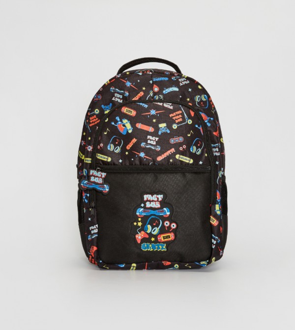 Printed Backpack-Black