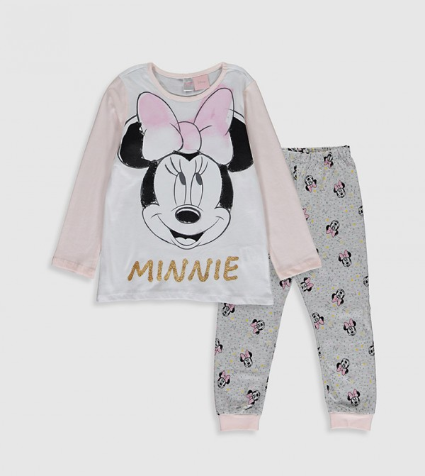 Minnie Mouse Printed Pyjamas Set-White
