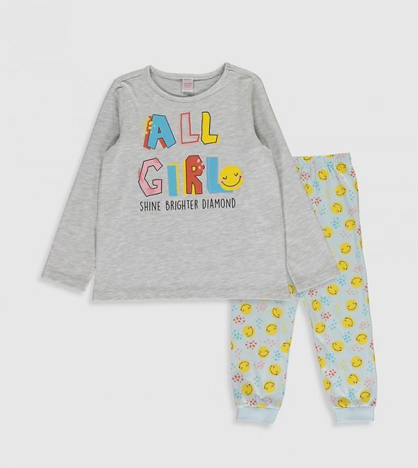 Printed Cotton Pyjamas Set-Grey