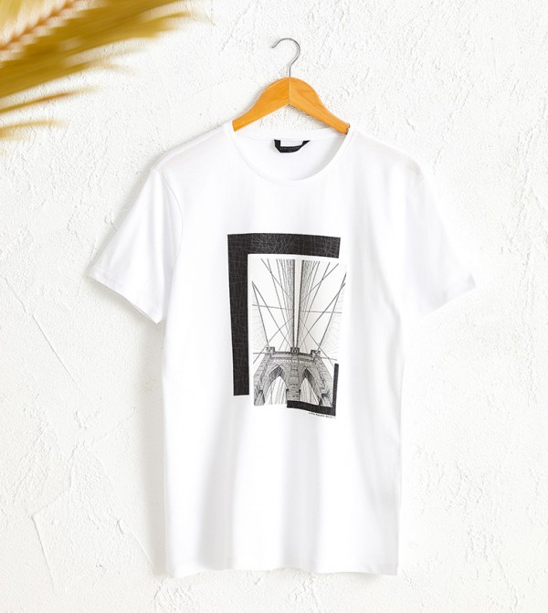 Crew Neck Printed Combed Cotton T-Shirt-White