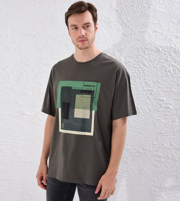 Crew Neck Printed Oversize T-Shirt-Khaki
