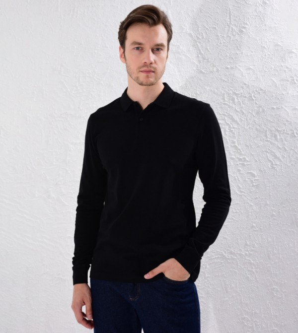 Polo Neck Long Sleeve Basic Pique T-Shirt-Black