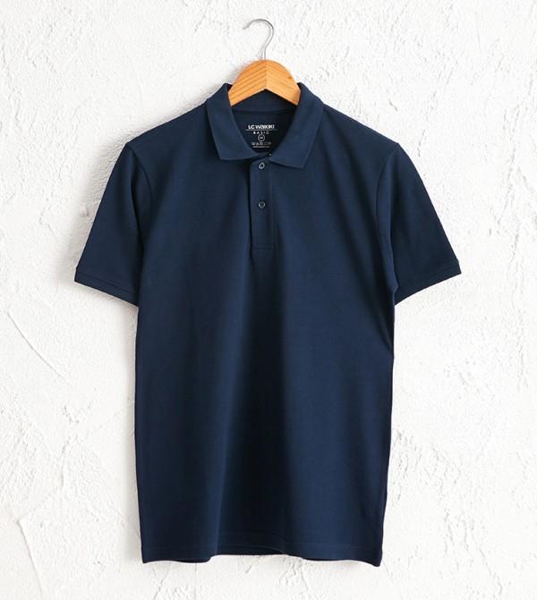 Polo Neck Short Sleeve Basic Pique T-Shirt-Blue