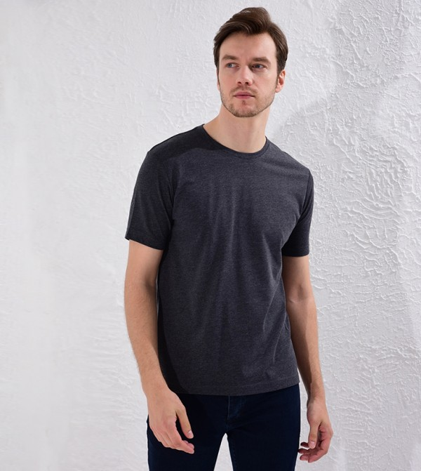 Crew Neck Basic Short Sleeve T-Shirt-Grey