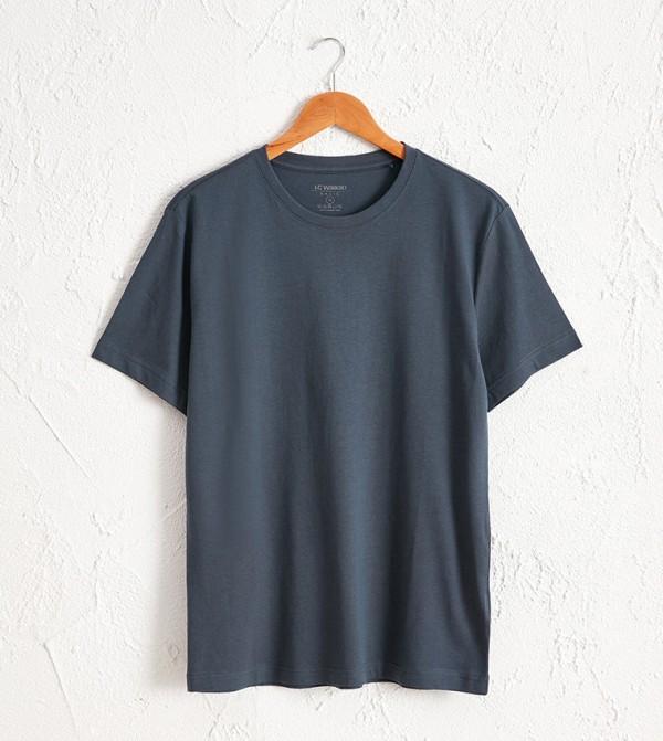 Crew Neck Basic Short Sleeve T-Shirt-Blue