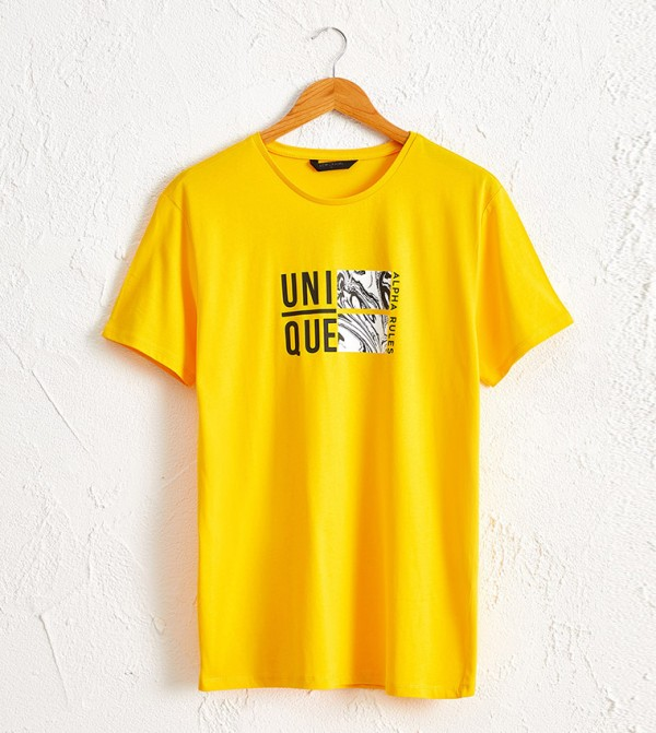 Crew Neck Printed Combed Cotton T-Shirt-Yellow