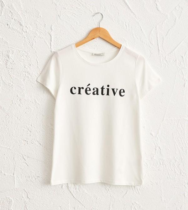Letter Printed Cotton T-Shirt-Cream