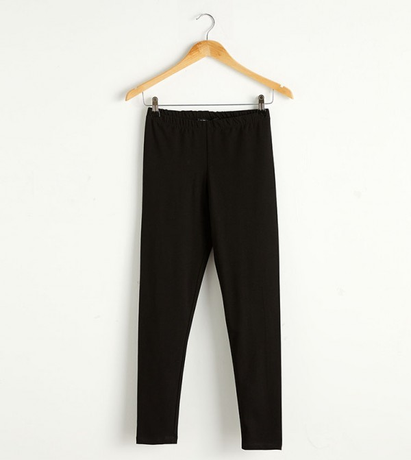 Long Cotton Leggings-Black