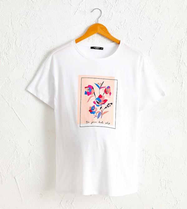 Printed Cotton Maternity T-Shirt-White