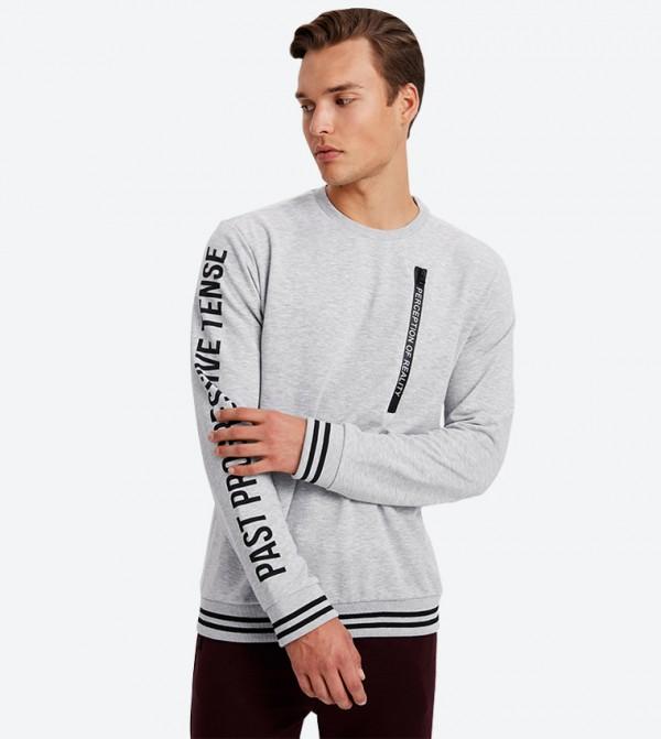 Long Sleeve Front Zip Closure Sweatshirt - Grey