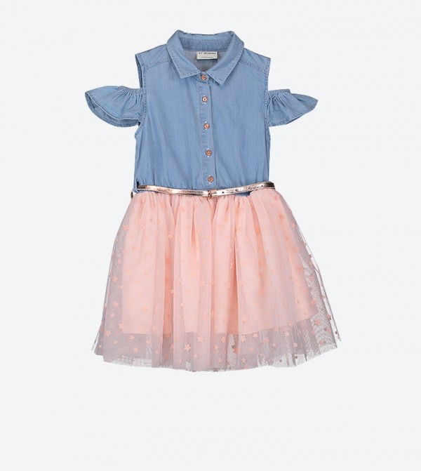 Classic Collar Cold Shoulder Dress - Blue