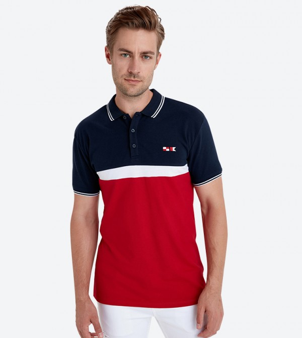 3-Button Placket Classic Collar Polo Shirt - Red