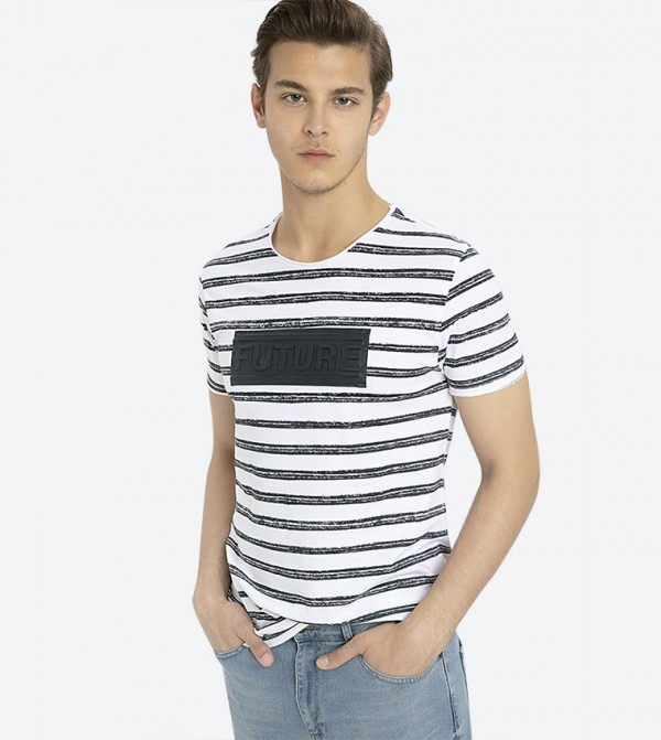 Striped Printed Short Sleeve T-Shirt - White