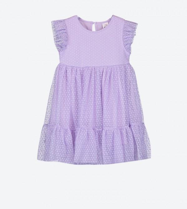 فستان بتفاصيل من القماش وأكمام قصيرة لون أرجواني