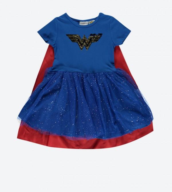 فستان سوبر مان بأكمام قصيرة لون أزرق