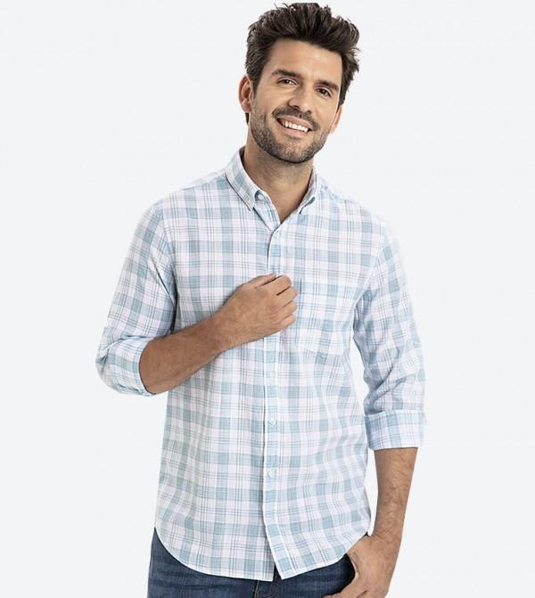 قميص بأكمام طويلة ونمط كاروهات لون أزرق