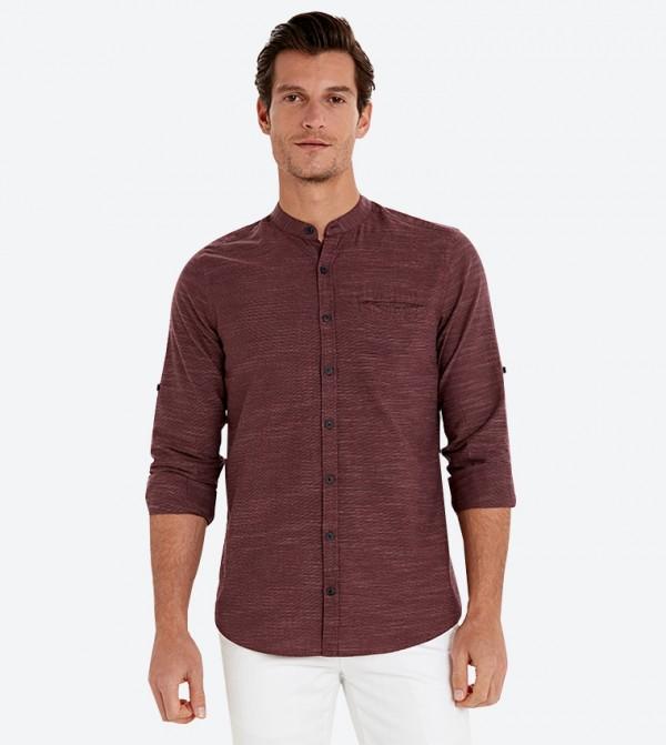 قميص بأكمام طويلة لون خمري