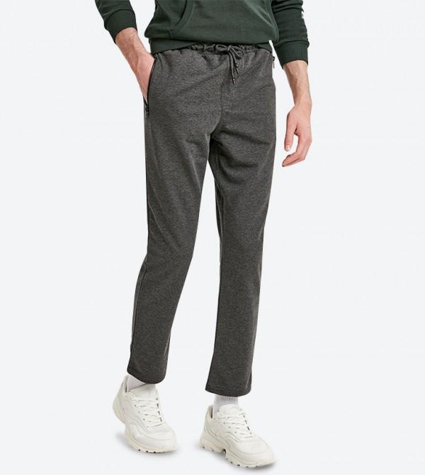 2-Pocket Details Drawstring Elasticated Waistband Track Pants - Dark Grey