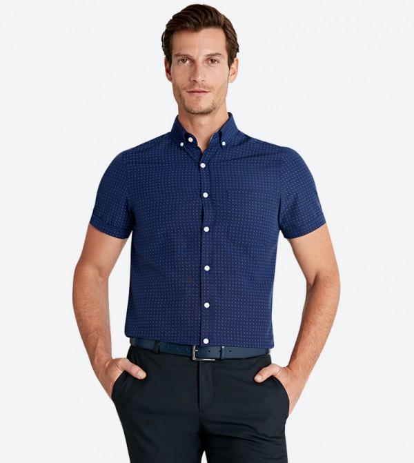 قميص بأكمام قصيرة لون كحلي