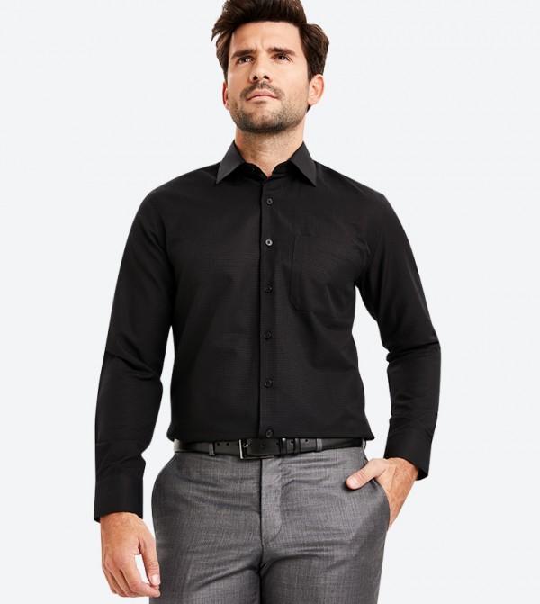 قميص رسمي بأكمام طويلة لون أسود