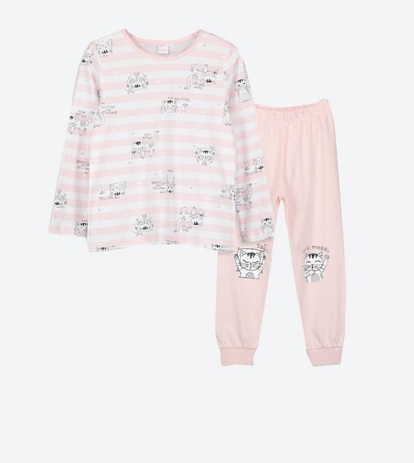 Cat Printed Long Sleeve Top and Cuff Hem Pyjama Set - Pink
