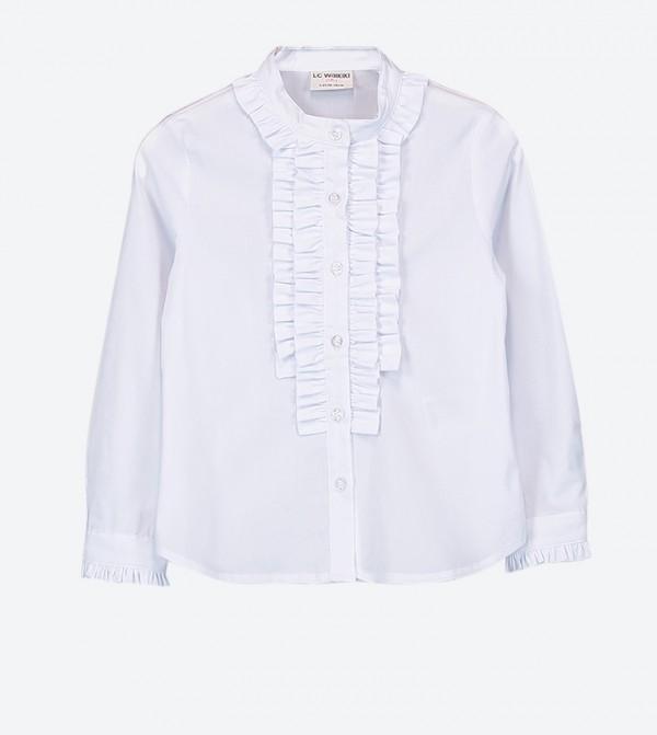 قميص بياقة عالية لون أبيض