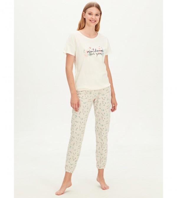Patterned Cotton Pajama Set-Oatmeal Melange