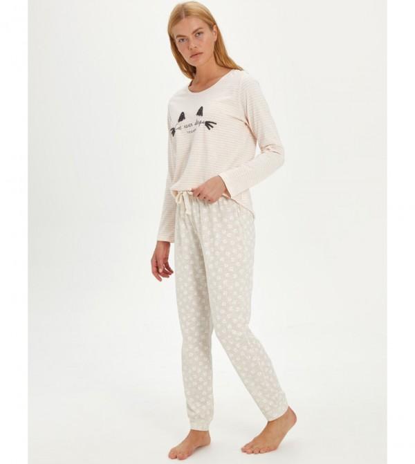 Embroidered Cotton Pajama Set-Light Beige Prin