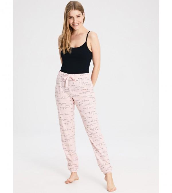 Lettering Printed Pajamas-Light Pink Print