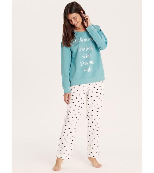 Patterned Cotton Pajama Set-Dull Blue