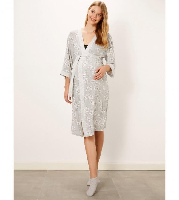 Floral Patterned Belted Viscose Pregnant Dressing Gown-Light Grey Print